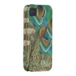 Libélulas y Lilypads del pavo real del vintage iPhone 4 Carcasas