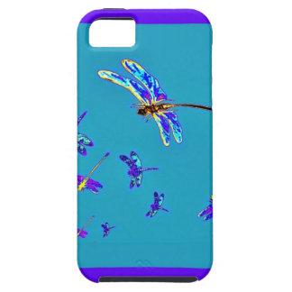 Libélulas y regalos púrpuras de los azules cielos iPhone 5 Case-Mate fundas