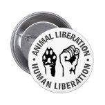 Liberación animal y humana pin redondo 5 cm