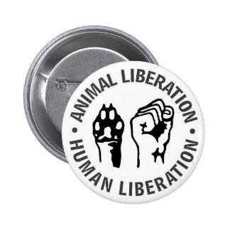 Liberación animal y humana pin redondo de 2 pulgadas