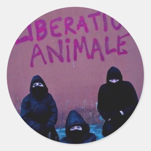 Liberación Animale Pegatina Redonda