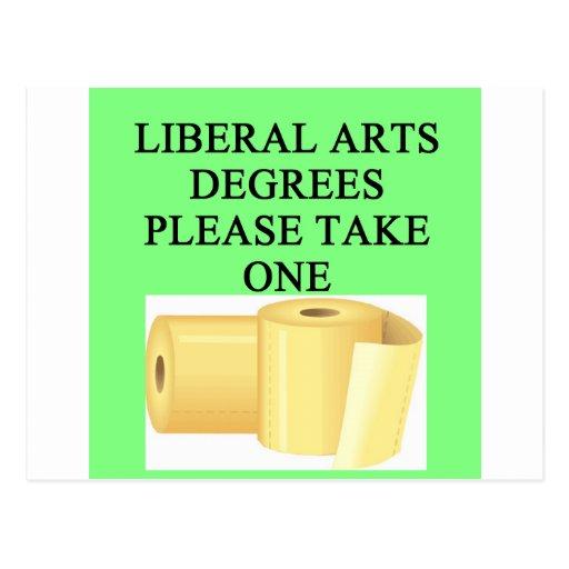 liberal arts degree postcard