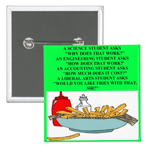 liberal arts science fast food joke buttons
