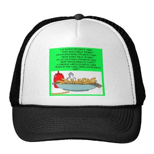 liberal arts science fast food joke mesh hat