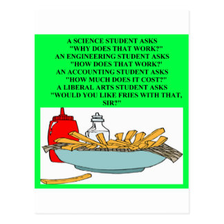 liberal arts science fast food joke postcard