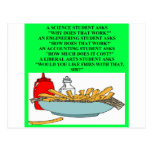 liberal arts science fast food joke postcard
