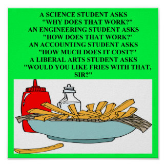 liberal arts science fast food joke poster