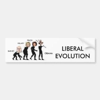 liberal evolution bumper sticker
