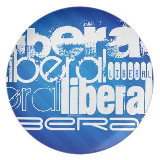Liberal fresco; Rayas azules reales Platos Para Fiestas