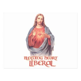 Liberal Jesús del corazón sangrante Postal