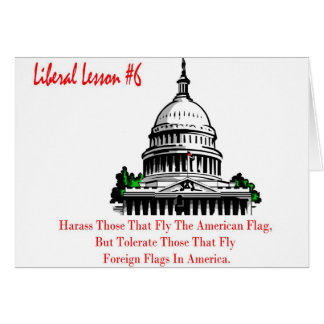 Liberal Lesson 6.	Harass Who Fly American Flag, Card