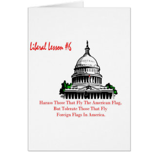 Liberal Lesson 6.	Harass Who Fly American Flag, Greeting Card