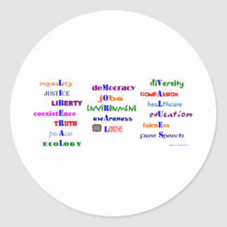 Liberal Moral Values Classic Round Sticker