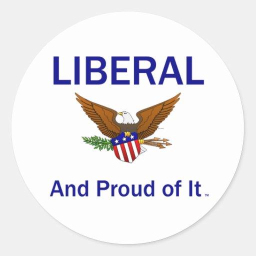 Liberal orgulloso de la CAMISETA Pegatina Redonda