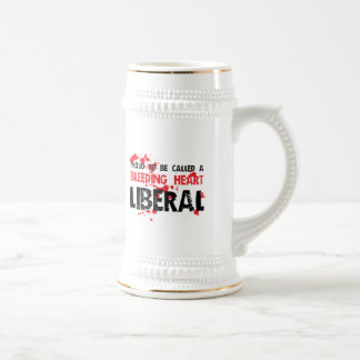 Liberal orgulloso del corazón sangrante jarra de cerveza