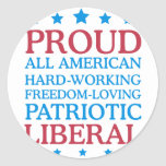 liberal orgulloso pegatina redonda