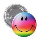 Liberal Smiley Rainbow - M1 Pinback Button