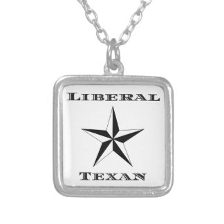 Liberal Texan Black and White Square Pendant Necklace