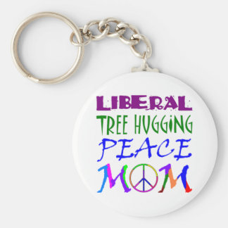 Liberal Tree Hugging Peace Mom Keychain