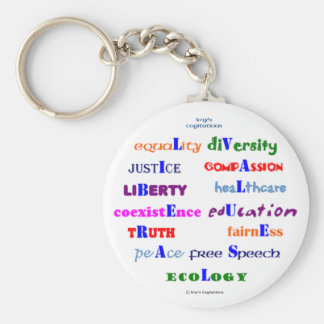 Liberal Values Basic Round Button Keychain