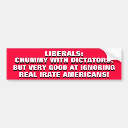 LIBERALS: CHUMMY W/ DICTATORS, BUT IGNORING YOU! BUMPER STICKERS