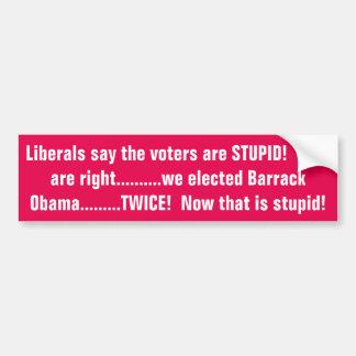 Liberals say we are stupid!!!!!!! bumper sticker