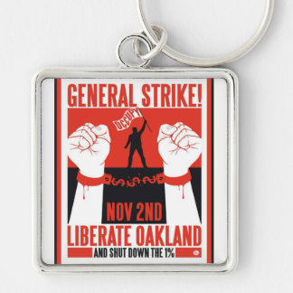 Liberate Oakland Occupy Protest Flyer Keychain