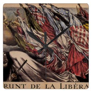 Liberation loan (1918)_Propaganda poster Square Wall Clock