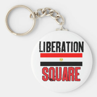 Liberation Square Basic Round Button Keychain