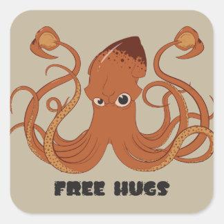 Libere a los pegatinas del calamar de los abrazos pegatina cuadrada