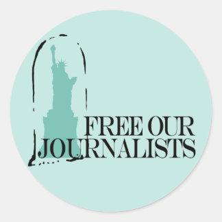 Libere a nuestros periodistas etiqueta redonda