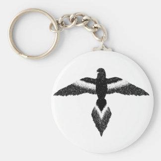 libere como pájaro blanco y negro llavero redondo tipo pin