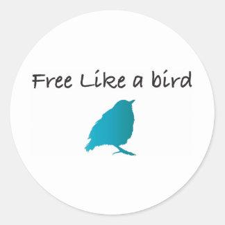 Libere como un pájaro etiqueta redonda