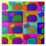 Libere el arte pop colorido del erizo de los abraz tejas  cerámicas