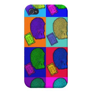 Libere el arte pop colorido del erizo de los abraz iPhone 4 protectores