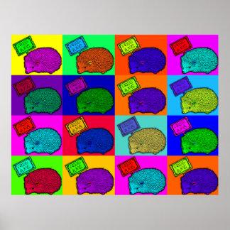 Libere el arte pop colorido del erizo de los abraz poster
