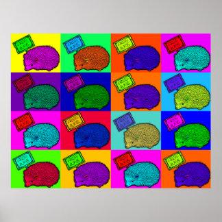 Libere el arte pop colorido del erizo de los abraz póster