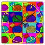 Libere el arte pop colorido del erizo de los abraz relojes de pared