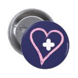 Libere el corazón curado listo para el nuevo botón pins