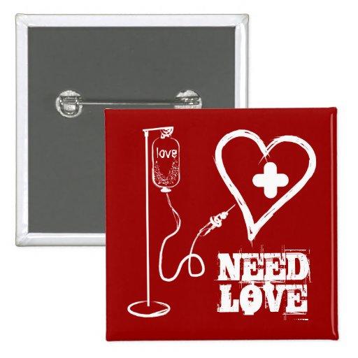 Libere el corazón curado listo para el nuevo botón pin cuadrado