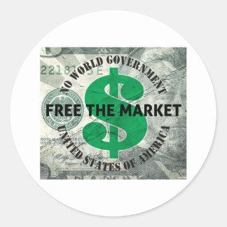 Libere el mercado pegatina redonda