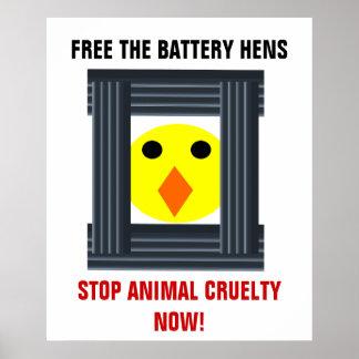 Libere el poster de las gallinas de batería