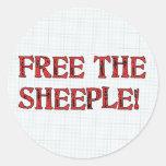 ¡Libere el Sheeple! Etiquetas Redondas