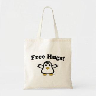 Libere el tote del pingüino de los abrazos bolsa tela barata