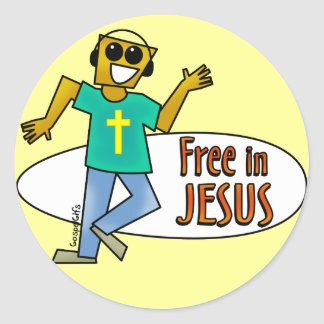 Libere en Jesús Pegatina Redonda