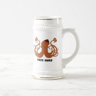 Libere la cerveza Stein del calamar de los abrazos Jarra De Cerveza