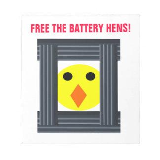 Libere la libreta de las gallinas de batería blocs de notas