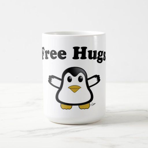 Libere la taza de café del pingüino de los abrazos