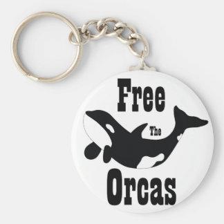 Libere las orcas llavero redondo tipo pin