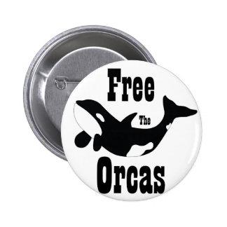 Libere las orcas pin redondo de 2 pulgadas